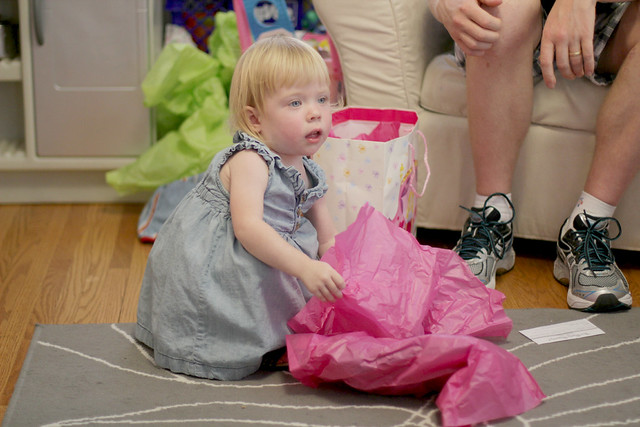 Lucy's Second Birthday Party - opening presents