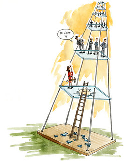 an illustration from the article of a woman trying to break through the glass ceiling with men above her