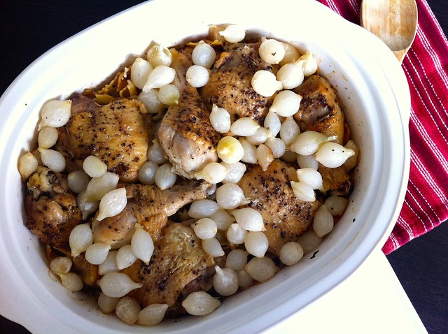 Slow Braised Chicken with Vegetables and Farfalle Dumplings