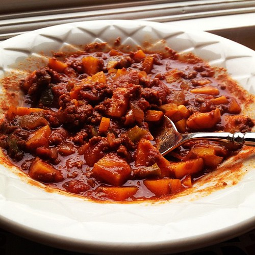 Sweet potato chili from the free Conscious Caravan cookbook. Mmm yummy! #paleo #foodporn