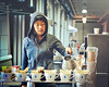 Jenny Yang at the Pour Over Coffee Bar, Blue Bottle Coffee Co ~ Ferry Building Farmers Market, San Francisco by R. E. ~