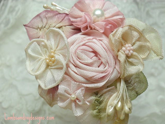 Pink and Cream rose Headband