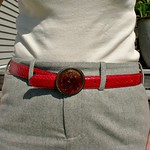 red snakeskin belt from tag sale in Great Neck