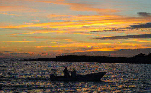 Sunset St Pete Beach - Boat coming in