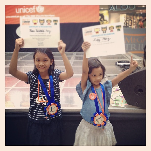 My two kids won first prize in the art contest in each of their age categories. Awww. #tot4unicef @unicefphils