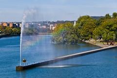 Jet d'eau et arc en ciel depuis le Pont de Fragnée