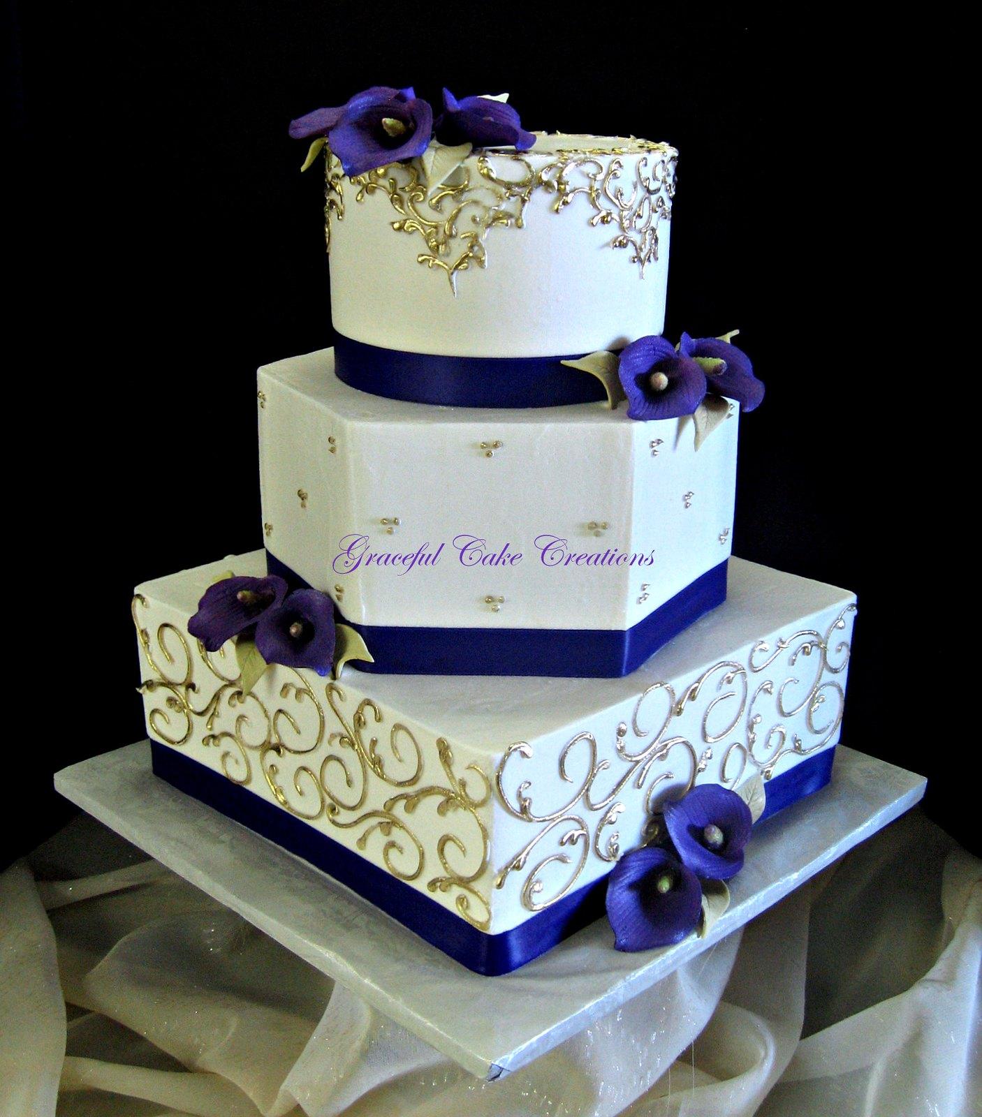 Elegant Ivory and Gold Wedding Cake with Purple Calla Lili