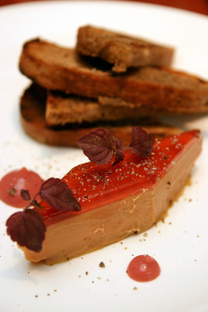 Foie Gras Pavė, with berry flavours and grilled rye bread
