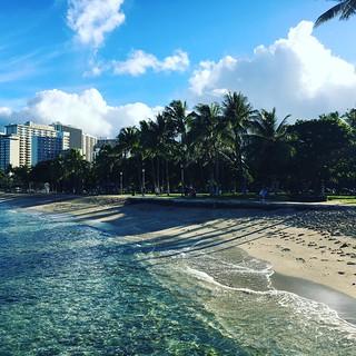 Image of Queen's Surf Beach near Honolulu. waikiki hawaii 2016