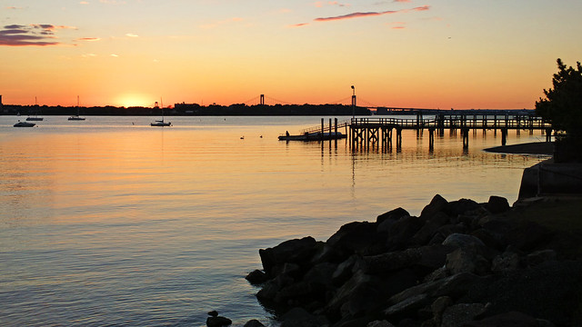 Long Island Sound And Bridges Sunset Silhouette; Long Island, New York