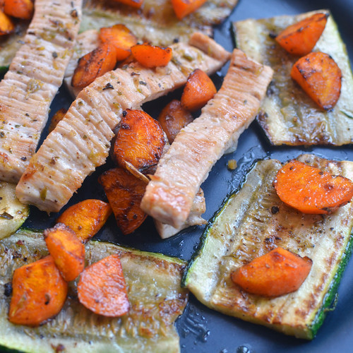 Grilled Turkey Slices with Courgette & Carrots by Hugo Alexandre Cruz
