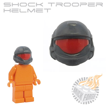 Shock Trooper Helmet - Dark Blueish Gray (red visor print)