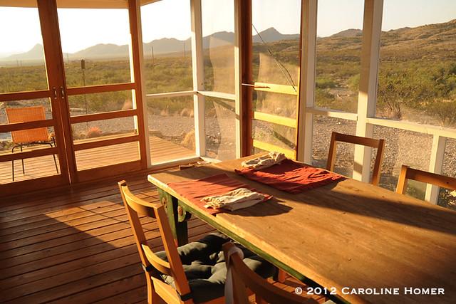 Sunny morning patio view, Terlingua, Texas
