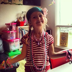 My #4yo bling baby - we're tidying up for the return of the dadda after a week away...
