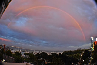 double rainbow over San Francisco Bay out my window