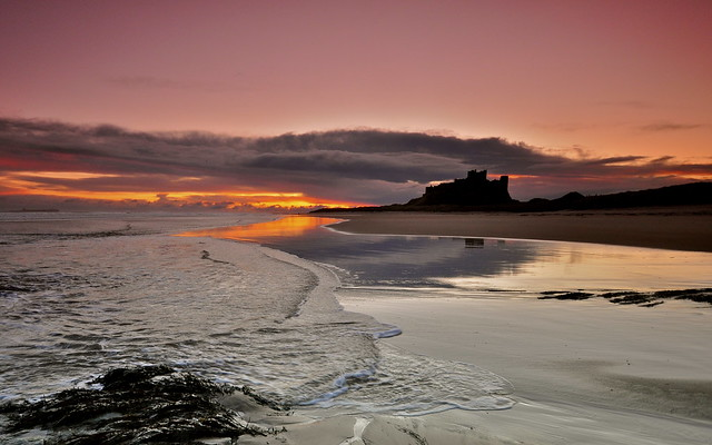 Dawn arrives slowly over Bamburgh