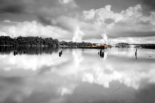 longexposure blackandwhite reflection clouds interesting industrial maryland baltimore flotsam wreck barge canonef1740mmf4lusm edit redux selectivecolor polluted jetsam curtisbay canon5dmkii sunkem bigstopper hitechgnd09 promotecontrolpctrl1