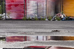 Ondrej Chmel Roof-free, wall-free units, with red, black and yellow smoke bombs, July