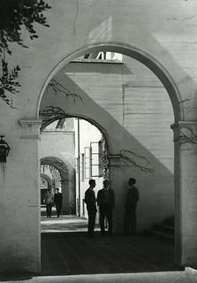 Students talking near Clark Hall in 1940