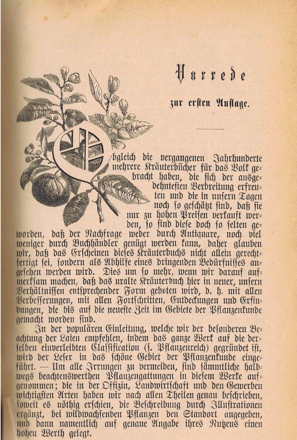 Beginn der Vorrede aus dem Kräuterbuch von Dr. Ferdinand Müller