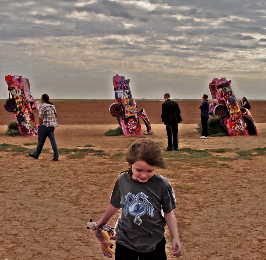 A Windy Day at Cadillac Ranch