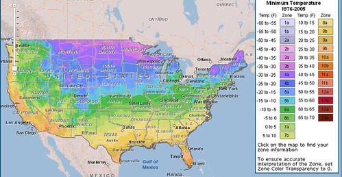 USDA 2012 climate zone map