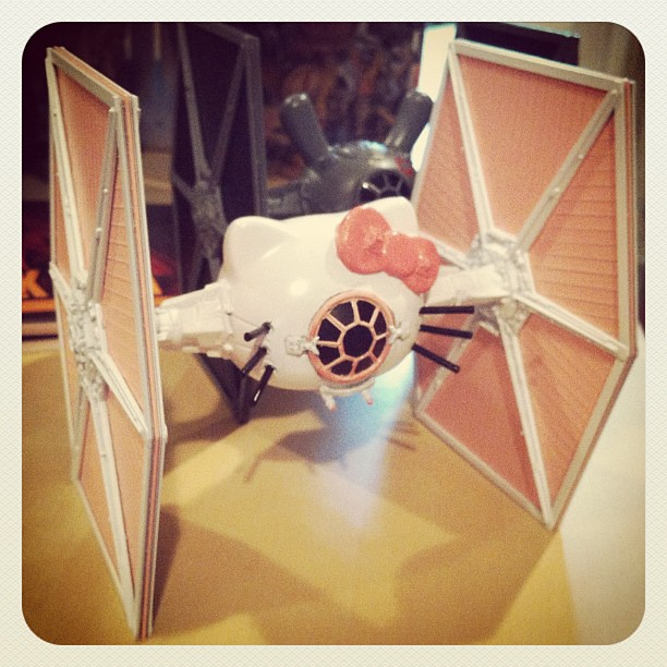 Hello Kitty TIE Fighter for my KRNY show next month. #hellokitty #kidrobotnyc #tiefighter #artwars #starwars