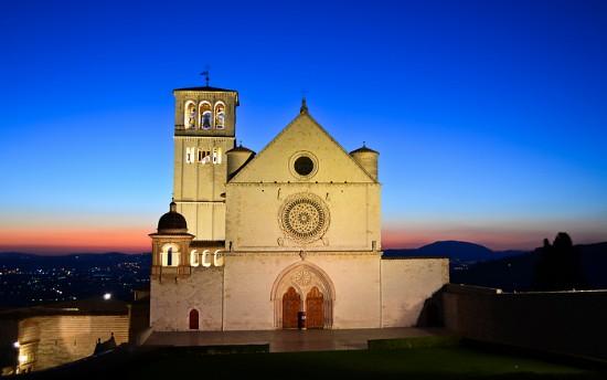 Basilica of St. Francis at sunset, Assisi - Basilica Papale di San Francesco d'Assisi, Umbria