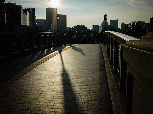 bridge sunset shadow japan lumix panasonic osaka nakanoshima gf1 20mmf17