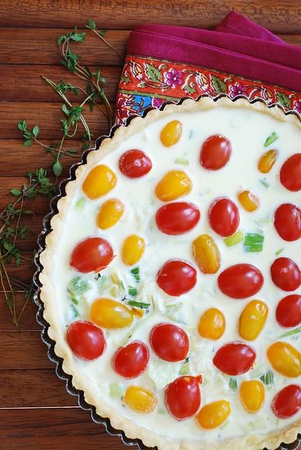 Breakfast tart with eggs, Gruyere cheese, and grape tomatoes recipe
