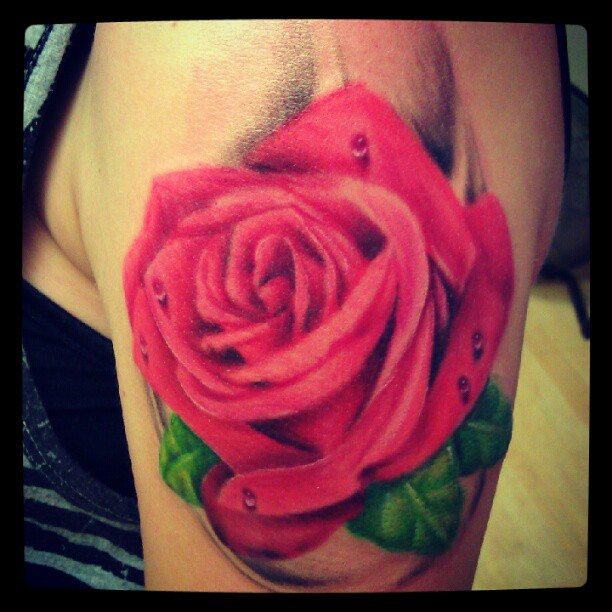 download image rose tattoos with water drops pc android iphone and