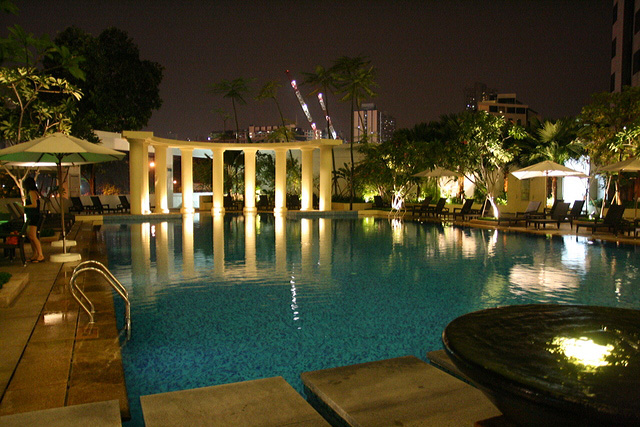 The pool looks nice at night!