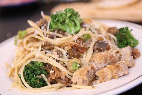 Spaghetti with Breaded Veal, Broccoli, Olives, and Eggplant