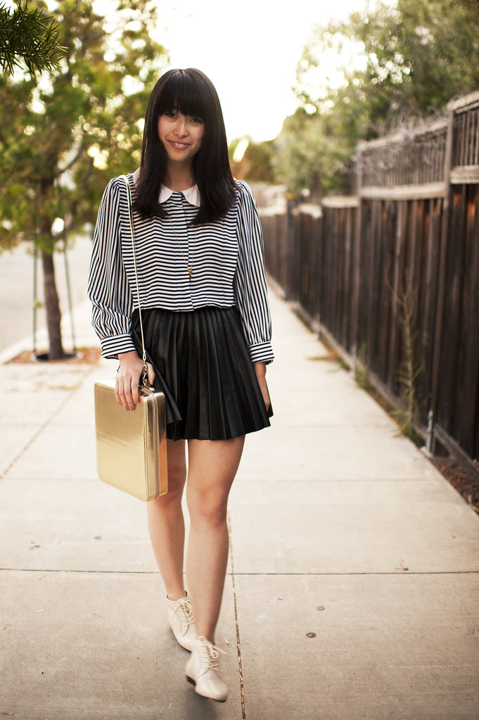 vintage top and booties, asos metallic purse, h&m leather skirt