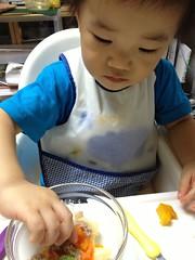 晩御飯、野菜の豚肉餡掛 (2012/9/30)