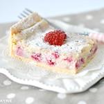 Gluten free raspberry & white choc tray bake