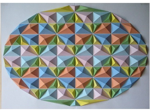 egg-shaped colorful origami mosaic