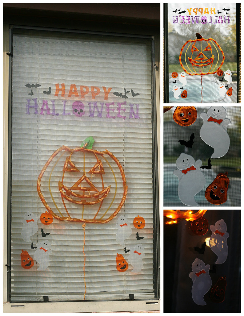 halloween window collage