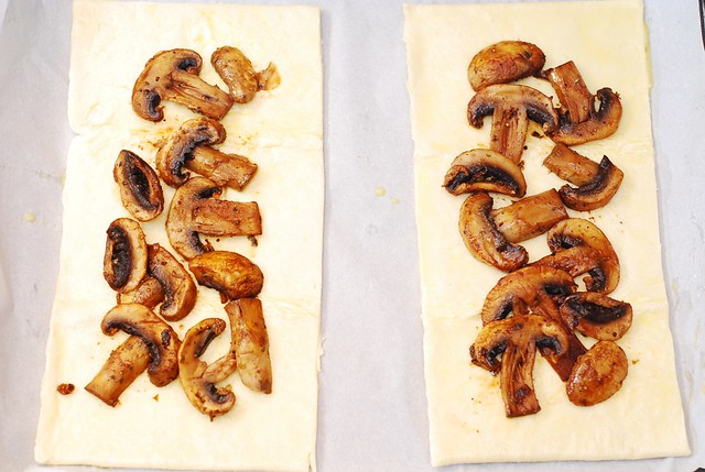 mushrooms on puff pastry