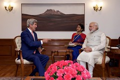 U.S. Secretary of State John Kerry meets with Indian Prime Minister Narendra Modi on August 31, 2016, at the Prime Minister's Residence in New Delhi, India. [State Department Photo/ Public Domain]