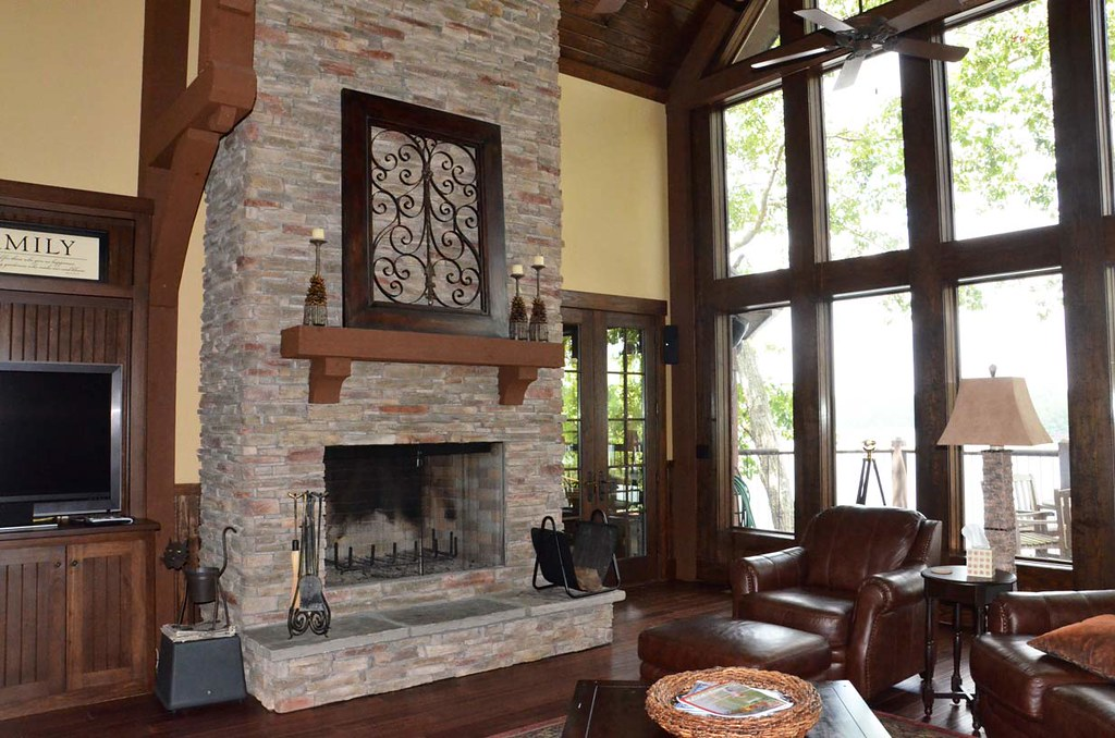 Houzz Appalachia Mountain Fireplace Great Room View On Flickr