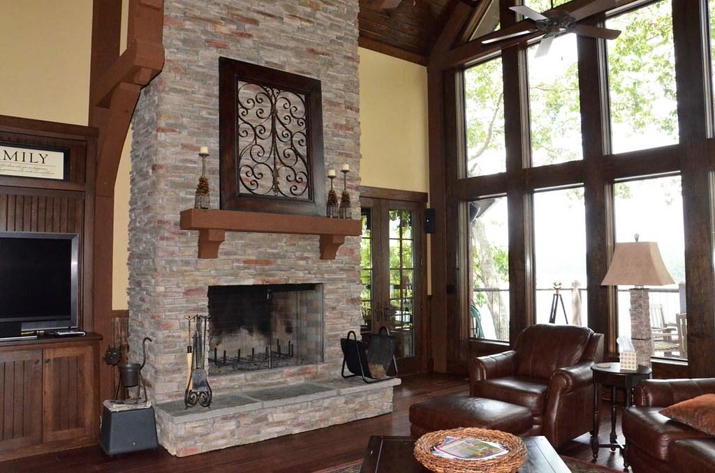 Houzz Appalachia Mountain Fireplace Great Room View On