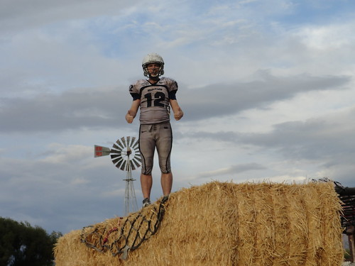 Adrian on top of the hay stack