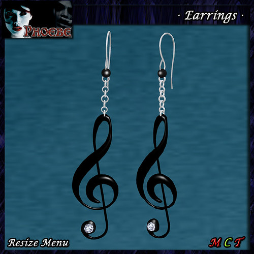 P Woman Earrings~Treble Clef~