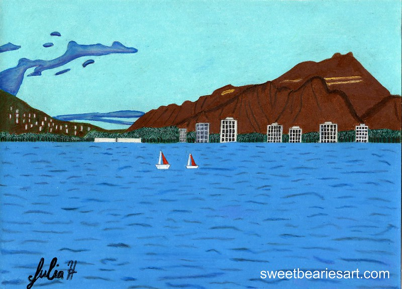 Drawing of Diamond Head And Waikiki Beach