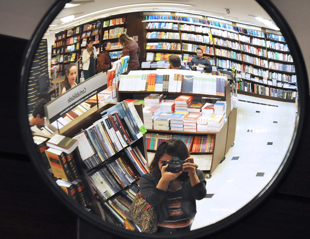 self-portrait in bookstore