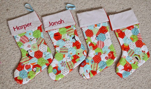 hexagon Christmas stockings