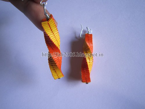 Handmade Jewelry - Paper Lanyard Earrings (Twisted Square) (1) by fah2305