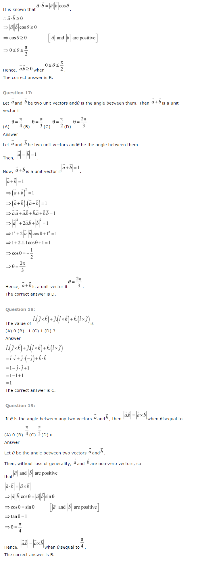 NCERT Solutions for Class 12 Maths Chapter 10 – Vector