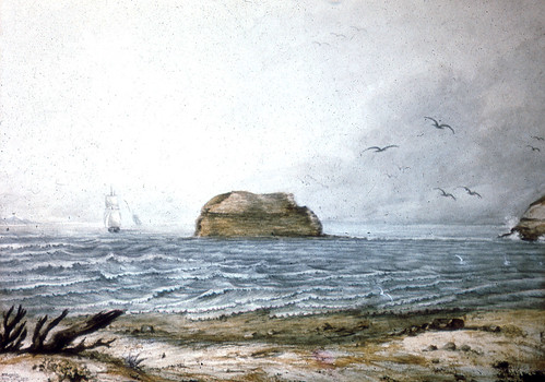 C918-0107 Nobby's, Newcastle Harbour Entrance, Painting by Lewin, c.1807